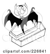 Royalty Free RF Clipart Illustration Of A Black And White Vampire Bat Flying Above A Coffin