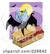 Royalty Free RF Clipart Illustration Of A Vampire Bat Hovering Above A Coffin Against A Full Moon