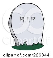 Royalty Free RF Clipart Illustration Of A Stone RIP Tombstone In A Cemetery