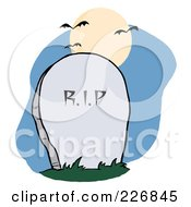 Royalty Free RF Clipart Illustration Of A Stone RIP Headstone In A Cemetery