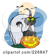 Royalty Free RF Clipart Illustration Of A Black Cat Wearing A Witch Hat And Sitting On A Jackolantern By A Tombstone