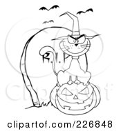 Royalty Free RF Clipart Illustration Of A Coloring Page Outline Of A Cat Wearing A Witch Hat And Sitting On A Pumpkin By A Tombstone