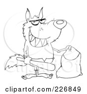 Royalty Free RF Clipart Illustration Of A Coloring Page Outline Of A Werewolf Holding A Bat And Trick Or Treat Bag by Hit Toon