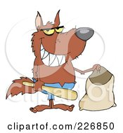 Royalty Free RF Clipart Illustration Of A Werewolf Holding A Bat And Trick Or Treat Bag