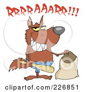 Royalty Free RF Clipart Illustration Of A Growling Werewolf Holding A Bat And Trick Or Treat Bag