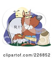 Royalty Free RF Clipart Illustration Of A Werewolf Holding A Bat And Trick Or Treat Bag By A Tombstone