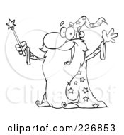 Royalty Free RF Clipart Illustration Of A Coloring Page Outline Of An Old Wizard In A Star Robe Holding Up His Wand by Hit Toon
