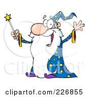 Jolly Old Wizard In A Star Robe Holding Up His Wand