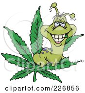 Royalty Free RF Clipart Illustration Of A Caterpillar Eating A Marijuana Leaf by Dennis Holmes Designs