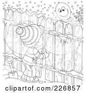 Royalty Free RF Clipart Illustration Of A Coloring Page Outline Of A Boy Peeking Through A Fence At A Balloon
