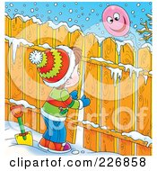 Royalty Free RF Clipart Illustration Of A Brunette Boy Peeking Through A Fence At A Balloon
