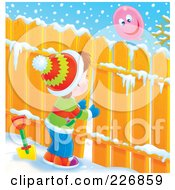 Royalty Free RF Clipart Illustration Of An Airbrushed Brunette Boy Peeking Through A Fence At A Balloon