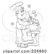 Royalty Free RF Clipart Illustration Of A Coloring Page Outline Of A Happy Chef Making Soup by Alex Bannykh