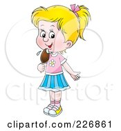 Royalty Free RF Clipart Illustration Of A Blond Girl Licking A Popsicle by Alex Bannykh