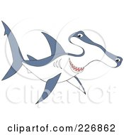 Royalty Free RF Clipart Illustration Of A Cute Blue And White Hammerhead Shark by Alex Bannykh