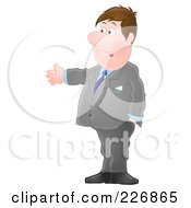 Royalty Free RF Clipart Illustration Of A Businessman Holding One Arm Out