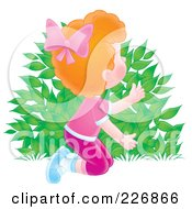 Royalty Free RF Clipart Illustration Of An Aibrushed Red Haired Girl Hiding Behind A Bush by Alex Bannykh