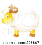 Royalty Free RF Clipart Illustration Of A Cute Horned Sheep