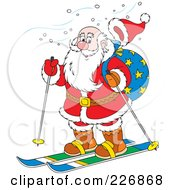 Royalty Free RF Clipart Illustration Of Santas Hat Flying Off While Skiing