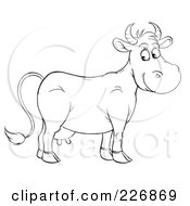Royalty Free RF Clipart Illustration Of A Coloring Page Outline Of A Happy Cow
