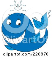Royalty Free RF Clipart Illustration Of A Blue Whale With A Big Grin by Alex Bannykh
