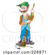 Royalty Free RF Clipart Illustration Of A Man Sweeping A Floor
