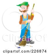 Royalty Free RF Clipart Illustration Of An Airbrushed Man Sweeping A Floor by Alex Bannykh