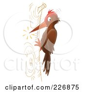 Royalty Free RF Clipart Illustration Of A Pecking Woodpecker by Alex Bannykh