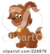Royalty Free RF Clipart Illustration Of A Cute Puppy Lifting A Paw