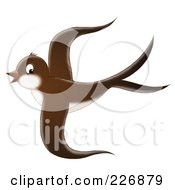 Royalty Free RF Clipart Illustration Of A Cute Brown Swallow In Flight