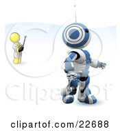 Yellow Man Inventor Operating An Blue Robot With A Remote Control by Leo Blanchette