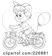Royalty Free RF Clipart Illustration Of A Coloring Page Outline Of A Boy Riding A Bike With A Balloon Attached by Alex Bannykh