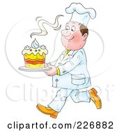 Royalty Free RF Clipart Illustration Of A Chef Carrying A Fresh Cake by Alex Bannykh