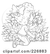 Royalty Free RF Clipart Illustration Of A Coloring Page Outline Of A Girl Hiding Behind A Bush