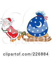 Royalty Free RF Clipart Illustration Of Santa Dragging A Sled With A Heavy Sack
