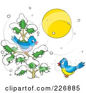 Royalty Free RF Clipart Illustration Of A Blue Birds Playing On A Sunny Winter Day
