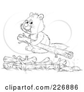 Royalty Free RF Clipart Illustration Of A Coloring Page Outline Of A Cute Beaver Stacking Wood Logs by Alex Bannykh