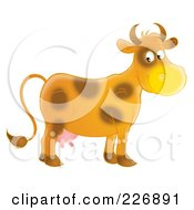 Royalty Free RF Clipart Illustration Of A Happy Brown Cow by Alex Bannykh