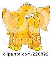 Royalty Free RF Clipart Illustration Of A Cute Chubby Yellow Elephant by Alex Bannykh