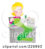 Royalty Free RF Clipart Illustration Of A Happy Seamstress Sewing