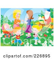 Royalty Free RF Clipart Illustration Of Two Women And Children In A Park By A Man Sitting On A Bench by Alex Bannykh