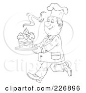 Royalty Free RF Clipart Illustration Of A Coloring Page Outline Of A Chef Carrying A Fresh Cake by Alex Bannykh