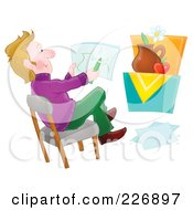 Royalty Free RF Clipart Illustration Of A Male Artist Drawing A Still Life by Alex Bannykh