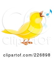 Royalty Free RF Clipart Illustration Of A Cute Yellow Whistling Bird by Alex Bannykh
