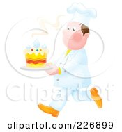 Royalty Free RF Clipart Illustration Of An Airbrushed Chef Carrying A Fresh Cake by Alex Bannykh