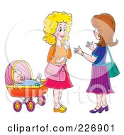 Royalty Free RF Clipart Illustration Of Two Women Chatting By A Baby