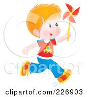 Royalty Free RF Clipart Illustration Of An Airbrushed Red Haired Boy Running With A Pinwheel by Alex Bannykh