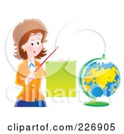 Royalty Free RF Clipart Illustration Of A Female Teacher Discussing Geography by Alex Bannykh