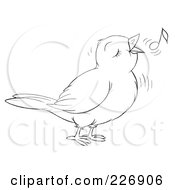 Coloring Page Outline Of A Cute Singing Bird