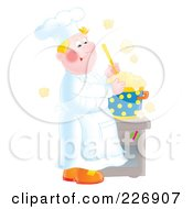 Royalty Free RF Clipart Illustration Of A Happy Chef Making Soup by Alex Bannykh